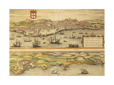 Map of Lisbon and Cascais from Civitates Orbis Terrarum Giclee Print