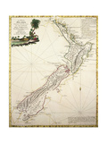 Map of New Zealand by Antonio Zatta According to Discoveries of James Cook, Venice 1778 Giclee Print