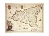 Map of Sicily Region, by Joan Blaeu Giclee Print