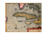 Map of Cuba and Jamaica, from Theatrum Orbis Terrarum by Abraham Orteliused in Antwerp, 1570 Giclee Print