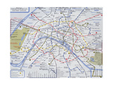Map of the Paris Metro, 1989 Impression giclée