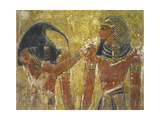Egypt, Thebes, Valley of the Kings, Close-Up Mural Representing Thoth and Pharaoh, Tomb of Seti I Giclee Print