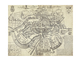 Map of Bristol, Great Britain and its Surroundings, 1671 Giclee Print