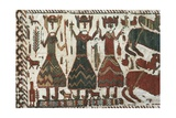 Detail from Skogchurch Tapestry Depicting Norse Gods Odin, Thor and Freyr, Sweden, 12th Century Giclee Print