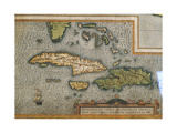 Map of Antilles Islands Giclee Print