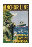 Poster Advertising the 'Anchor Line' to and from Gibraltar, Egypt and India Giclee Print