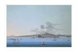 General View of Naples from Sea, Gouache Giclee Print