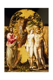 Adam and Eve in Presence of Lord, Portable Triptych Altar Giclee Print