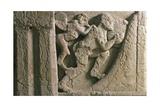 Metope Depicting Punishment of Sisyphus Pushing Boulder Hampered by Winged Demon Giclee Print