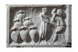 Roman Civilization, Bas-Relief Depicting Roman Cellar with Amphorae Wine Ware Giclee Print