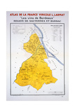 Map of the Bordeaux Region: Sauternes and Barsac Giclee Print
