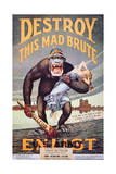'Destroy This Mad Brute', World War One Recruitment Poster Giclee Print