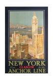 Poster Advertising New York from Glasgow by the 'Anchor Line' Giclée-Druck