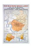 Map of the Bordeaux Region: Saint Emillion Giclee Print