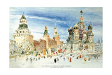 Russia, Moscow, Red Square with Kremlin Wall and Saint Basil's Cathedral Giclee Print