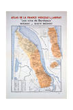 Map of the Bordeaux Region: Medoc and Haut-Medoc Impression giclée