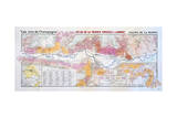 Map of the Champagne Region: Valley of the Marne Impression giclée