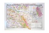 Map of the Champagne Region: Montagne De Reims and Ardre Valley Reproduction procédé giclée