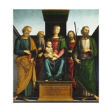 Madonna and Child on Throne with Saints John Baptist Giclee Print