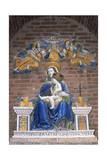 Monte Oliveto Maggiore Abbey, Statue of Madonna and Child Crowned by Two Angels, Tuscany, Italy Giclee Print