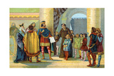 Charlemagne Visiting a School, C.1900 Giclee Print