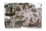 Pygmies, Fish, Ducks and Hippopotamus, Detail from Mosaic Depicting Nilotic Landscape Giclee Print