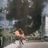 A Soviet Tank on Fire Photographic Print