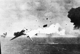 Japanese Kamikaze Plane Shot Down by a US Warship, 1940S Photographic Print