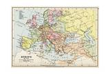 Map of Europe in 1740, from 'Historical Atlas' Giclee Print