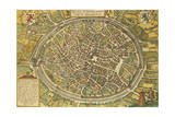 Map of Bruges from Civitates Orbis Terrarum Giclee Print