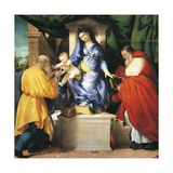 Enthroned Madonna and Child with Saints Giuseppe and Jerome Giclee Print