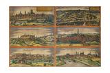 Map of Munich, Ingolstadt, Freising, Nordlingen, Regensburg and Straubing, Germany Giclee Print