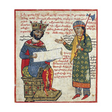 Alexander the Great Receives Darius's Message, Miniature from the History of Alexander the Great Giclee Print