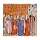 Charlemagne and His Retinue Entering a Church, Miniature from the Chronicle of Saint Denis Giclee Print
