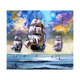 Christopher Columbus's Fleet Giclee Print