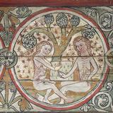 Adam and Eve in Garden of Eden, Decoration from Al Stavkirke Photographic Print