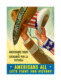 Americans All: Let's Fight for Victory, 1943 Giclee Print
