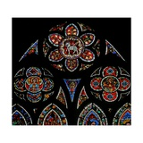 Window W202 Depicting the Tracery Lights with Two Angels and the Agnus Dei Giclee Print