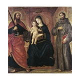 Madonna Enthroned and Two Saints Giclee Print