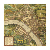 Map of Basel, Switzerland, from Civitates Orbis Terrarum Giclee Print