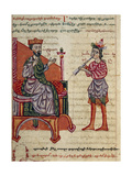 Alexander the Great on the Throne, Miniature from the History of Alexander the Great Giclee Print