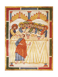 Last Supper, Miniature from the Matilde of Canossa Gospels, Italy 12th Century Giclee Print