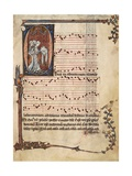 Music Page with Capital Letter Illuminations Depicting Singers, Miniature Giclee Print