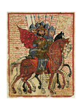 Alexander the Great Leading His Troops, Miniature from the History of Alexander the Great Giclee Print