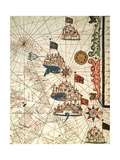 Portolan Chart Depicting the Cities of Venice, Genoa and Marseille Giclee Print
