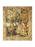 Abraham Leading Isaac to Sacrifice, 17th Century Tapestry Based on Cartoons by Simon Vouet Lámina giclée