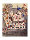 Ottoman Miniature Depicting the Szigetvar Fortress, Manuscript, Turkey 14th Century Giclee Print