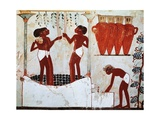Egypt, Thebes, Sheikh Abd El-Qurnas from Nakht's Tomb, Detail, Grape Picking Giclee Print