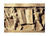 Roman Civilization, Relief Portraying Gladiator Fight, from Preturo, L'Aquila Province, Detail Giclee Print