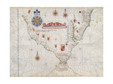 Map of South America and Strait of Magellan from Luis Lazaro's World Atlas, 1563 Giclee Print
